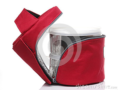 Red Insulate food bag set on White background