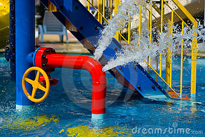 Red iron tube in pool