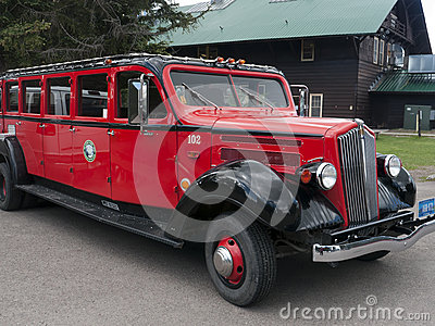 Red Jammer Bus, Glacier National Park Editorial Photography