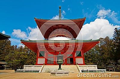 Red Japanese Temple in Koya san Japan