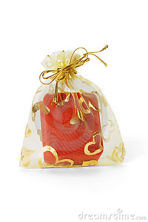 Red Jewellery Box In Gold Sachet Royalty Free Stock Image - Image: 18745296