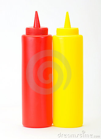 Free Red Ketchup And Yellow Mustered Dispenser Stock Photo - 20254900