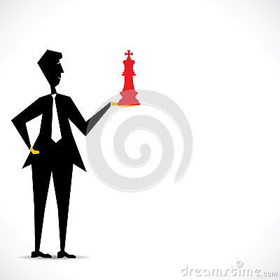 Red king in businessmen hand