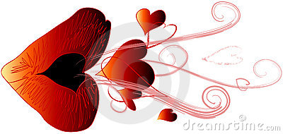Red Kiss Blowing Hearts Royalty Free Stock Photography