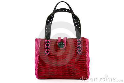 Red knitted handbag.