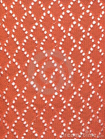 Red knitted lace fabric