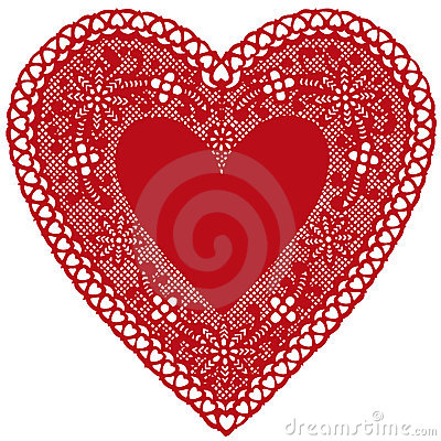 Red Lace Heart Doily on White Background