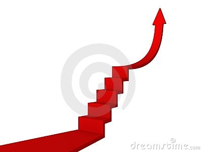 Red ladder to success arrow. business concept