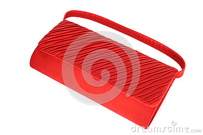 Red ladies handbag isolated on white