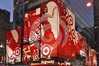Red lady sign, New York Editorial Image