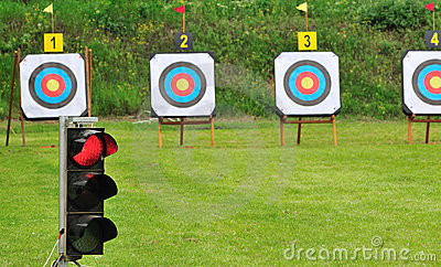 Red lamp and archery targets