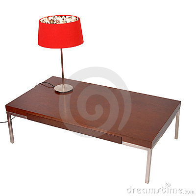 Free Red Lamp On A Coffe Table Isolated On White Stock Images - 11136614