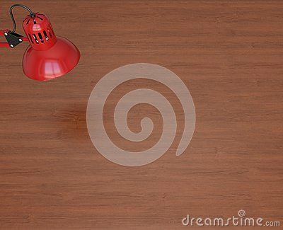 Red lamp and wooden work table