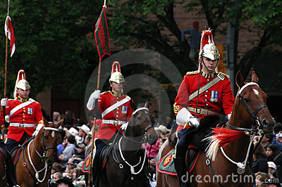 Red lancers riding in parade Editorial Photo