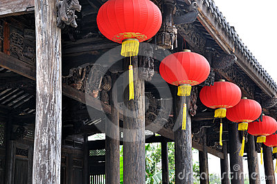 Red lantern on Chinese traditional architecture
