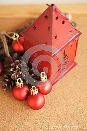 Red lantern and christmas balls