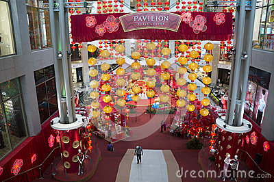 Red Lantern decoration at Shopping mall Editorial Stock Image