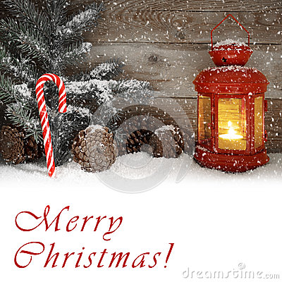 Free Red Lantern Glowing On A Snowy Christmas Night Royalty Free Stock Photography - 59642847