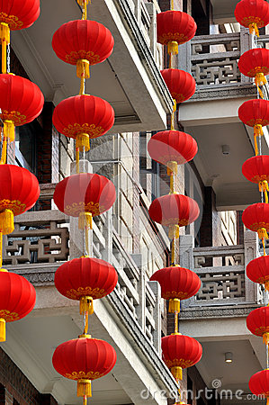 Red lantern hangingon residence building