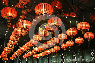 Red lantern in hotel