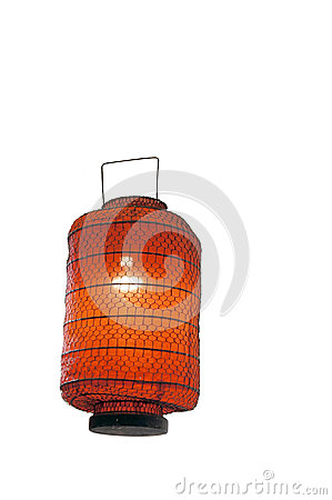 Red lantern isolated on white background