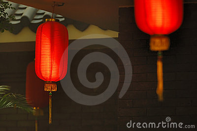 Red lanterns of a tea house