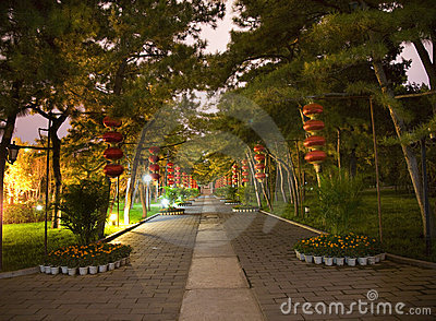 Red Lanterns Temple Sun Park Beijing China Night