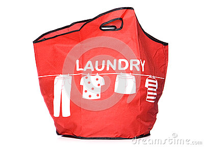 Red Laundry carry bag cut out