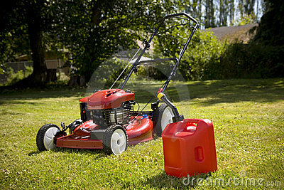 Red Lawn Mower