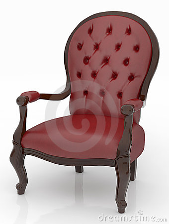 Free Red Leather Armchair Over The White Royalty Free Stock Image - 19537616