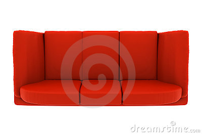 Red leather couch isolated on white. top view