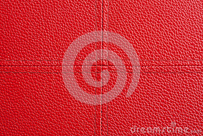 Red leather with cross sewing background