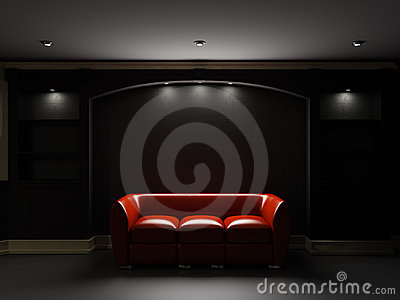 Red leather divan and bookcase