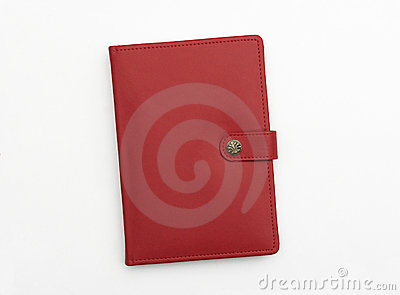 Red leather journal notebook diary