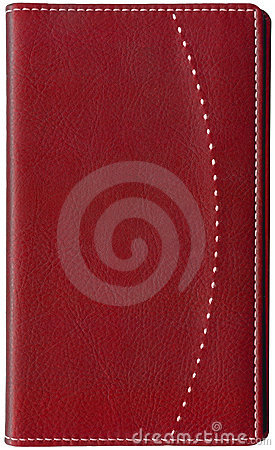 Red leather memo book isolated on white