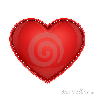 Red leather pillow as heart