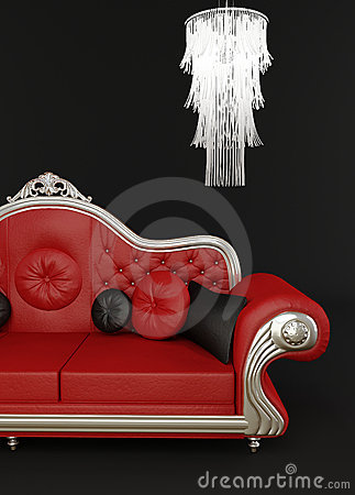 Free Red Leather Sofa With Chandelier Royalty Free Stock Images - 18561539