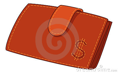 Red leather wallet with dollar sign