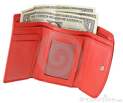 Red leather wallet with dollars and credit card