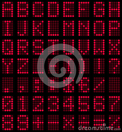 Red LED Display Font