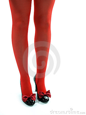 Red Legs and black high heel shoes