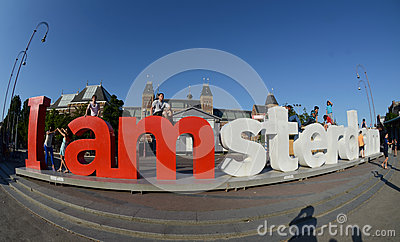 Red letters in the park in centre of Amsterdam Editorial Photography