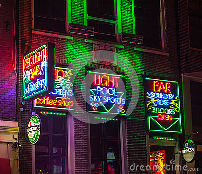 Red Light Bar in Amsterdam Editorial Stock Image
