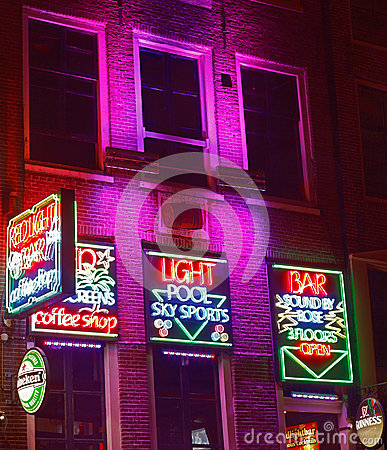 Red Light Bar in Amsterdam Editorial Photography