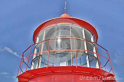Red lighthouse seen majestic on clear sky
