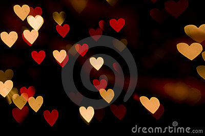 Red Lights Heart Background