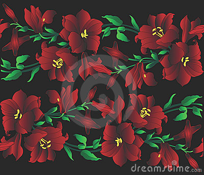 Red lilly pattern illustration