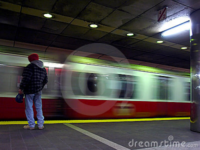 Red Line Train in Motion