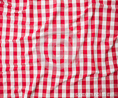 Red linen crumpled tablecloth texture