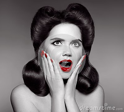 Free Red Lips And Manicured Nails. Surprised Pin Up Girl Holds Cheeks Stock Photo - 107584230